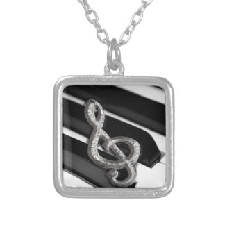 Piano with Music symbol Staff Gclef Necklaces
