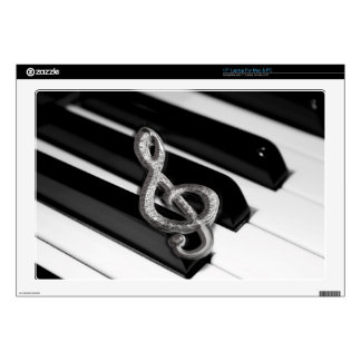 """Piano with Music symbol Staff Gclef 17"""" Laptop Decal"""