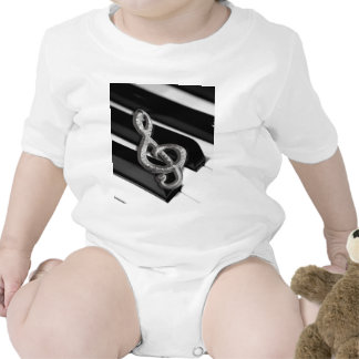 Piano with Music symbol Staff Gclef Baby Bodysuits
