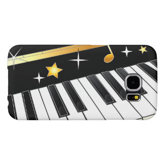 Piano with Notes and Stars Samsung Galaxy S6 Cases