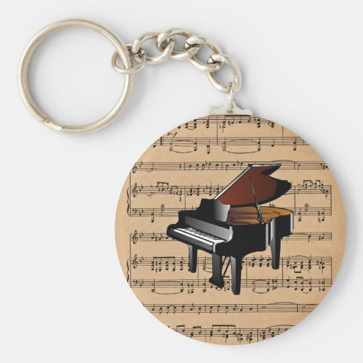 Piano ~ With Sheet Music Background Keychain