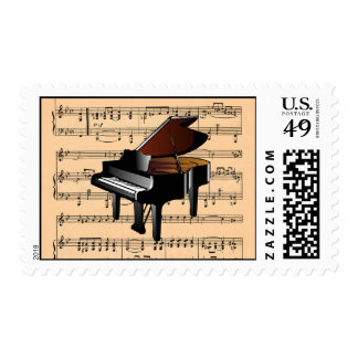 Piano With Sheet Music Background ~ Musical Instru Postage Stamp