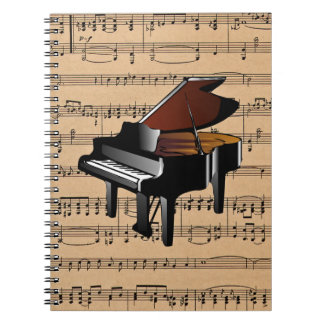 Piano ~ With Sheet Music Background Notebook