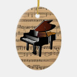 Piano ~ With Sheet Music Background Christmas Ornaments