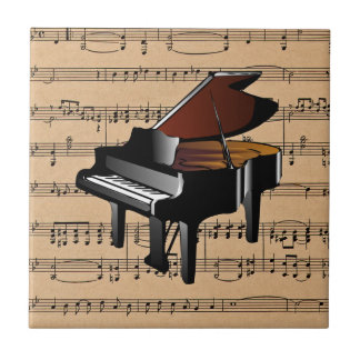 Piano ~ With Sheet Music Background Small Square Tile
