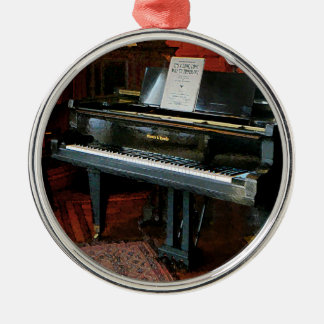 Piano With Sheet Music Round Metal Christmas Ornament