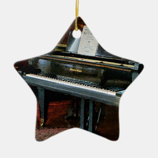 Piano With Sheet Music Double-Sided Star Ceramic Christmas Ornament