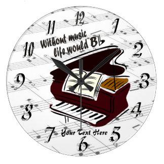 Piano - Without Music Life Would B Flat Wall Clock