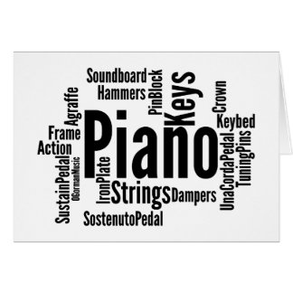 Piano Word Cloud Black Text Card