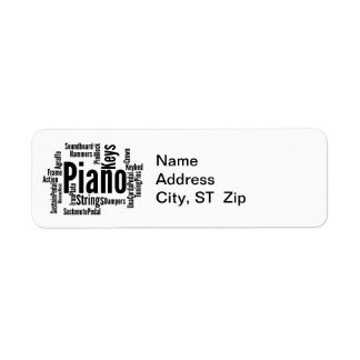 Piano Word Cloud Black Text Label