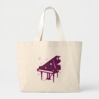 Piano y copos de nieve bolsa tela grande
