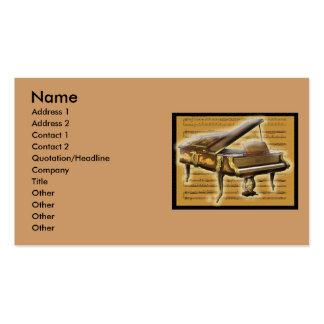 Piano y notación antiguos plantilla de tarjeta personal