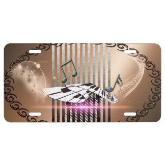 Piano y notas dominantes placa de matrícula