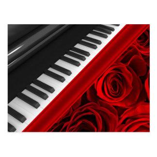 Piano y rosas postales