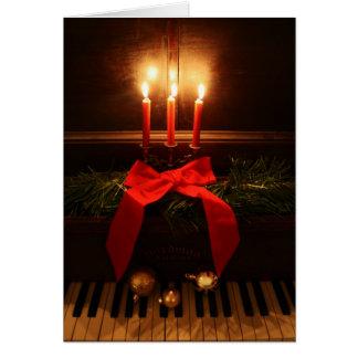Piano y velas tarjeta de felicitación