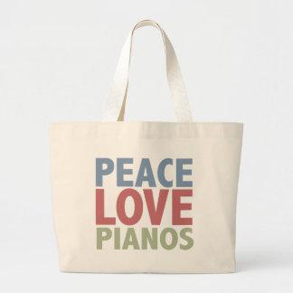 Pianos del amor de la paz bolsa tela grande