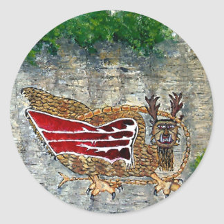 Piasa Bird Oil Landscape Painting Classic Round Sticker