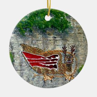 Piasa Bird Oil Landscape Painting Christmas Tree Ornament
