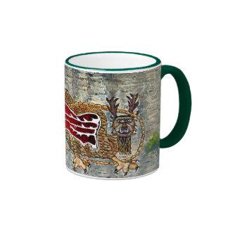 Piasa Bird Oil Landscape Painting Ringer Coffee Mug