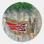 Piasa Bird Oil Landscape Painting Round Sticker