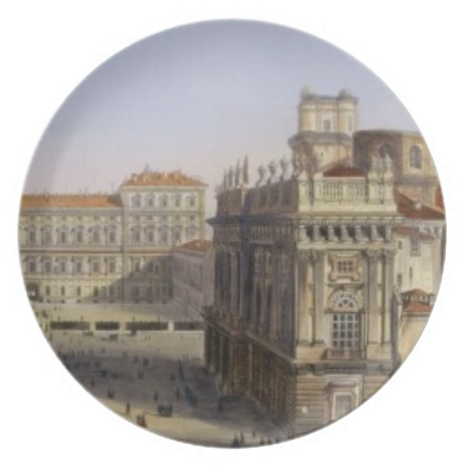 Piazza Castello, Turin, engraved by F. Citterio (c Melamine Plate