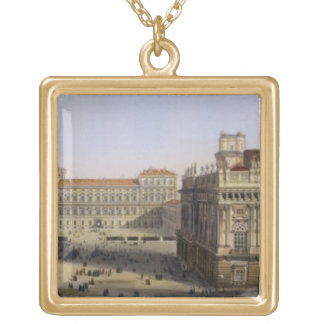 Piazza Castello, Turin, engraved by F. Citterio (c Square Pendant Necklace