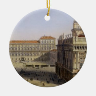 Piazza Castello, Turin, engraved by F. Citterio (c Christmas Tree Ornament