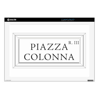 """Piazza Colonna, Rome Street Sign Decals For 17"""" Laptops"""