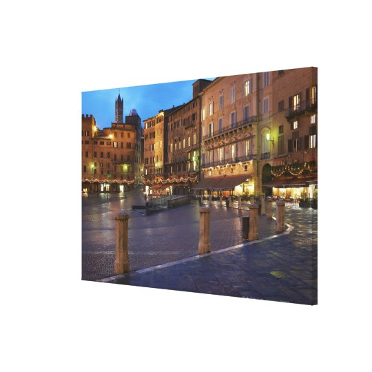 Piazza Del Campo at dusk,Siena. Canvas Print