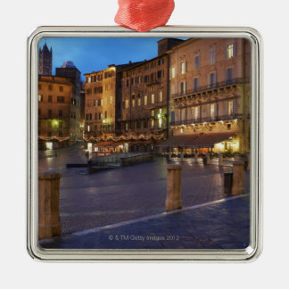 Piazza Del Campo at dusk,Siena. Square Metal Christmas Ornament