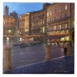 Piazza Del Campo en la oscuridad, Siena Tejas Ceramicas
