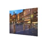 Piazza Del Campo en la oscuridad, Siena Impresion De Lienzo