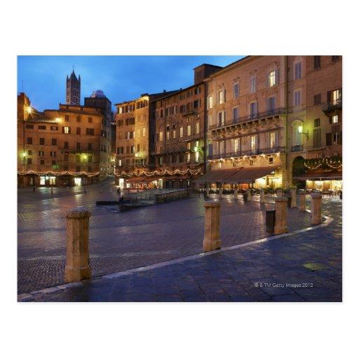 Piazza Del Campo en la oscuridad, Siena Tarjeta Postal
