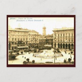 Piazza del Duomo, Milan, Italy Vintage postcard
