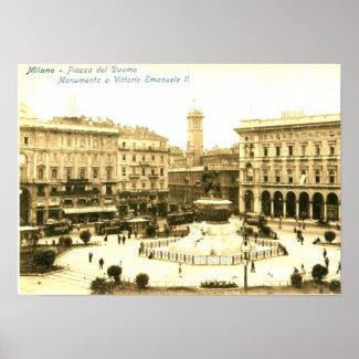 Piazza del Duomo, Milan, Italy Vintage print