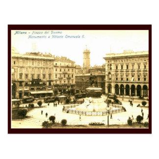 Piazza del Duomo, vintage de Milano, Italia Tarjeta Postal