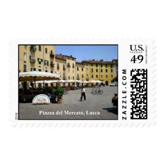 Piazza del Mercato, Lucca, Italia Stamp