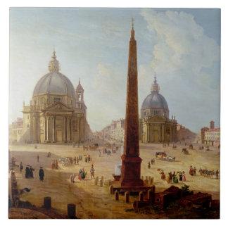 Piazza del Popolo, Roma (aceite en lona) Azulejo Cuadrado Grande