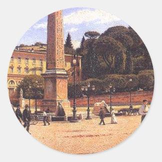 Piazza del Popolo w Rzymie by Aleksander Gierymski Classic Round Sticker