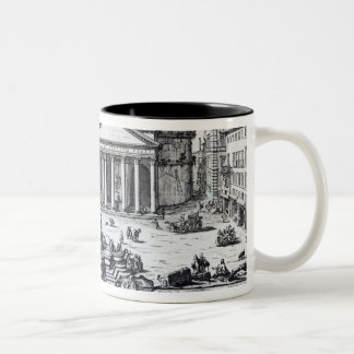 Piazza della Rotonda with a view of Pantheon Two-Tone Coffee Mug