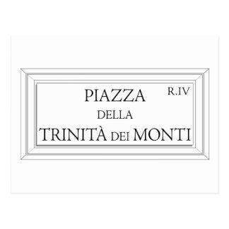 Piazza della Trinita dei Monti, Rome Street Sign Postcard
