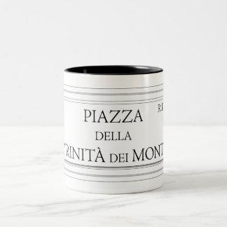 Piazza della Trinita dei Monti, Rome Street Sign Two-Tone Coffee Mug