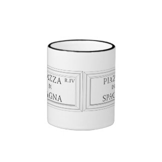 Piazza di Spagna, Rome Street Sign Ringer Coffee Mug