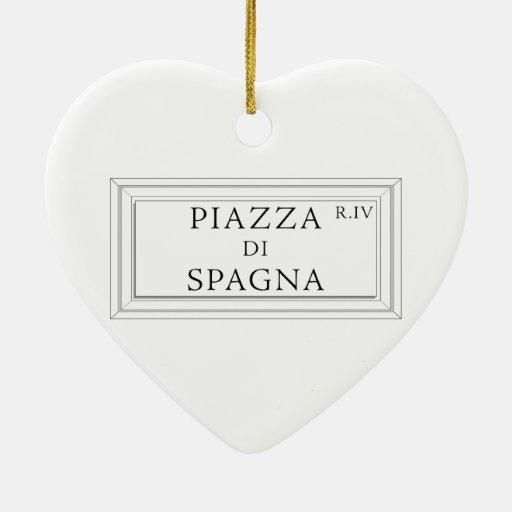 Piazza di Spagna, Rome Street Sign Christmas Ornament