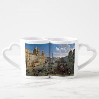 Piazza Navona, Rome art couple's mug set