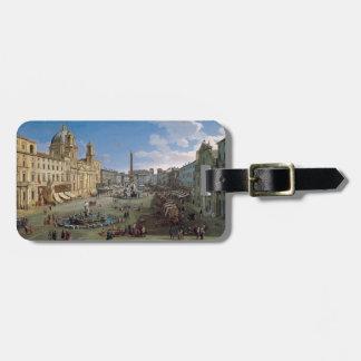 Piazza Navona, Rome art custom luggage tag