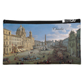 Piazza Navona, Rome art custom name accessory bag