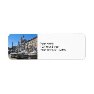 Piazza Navona- Rome, Italy Return Address Label