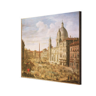 Piazza Navona, Rome, looking South towards Palazzo Stretched Canvas Print
