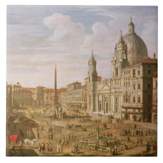 Piazza Navona, Rome, looking South towards Palazzo Large Square Tile